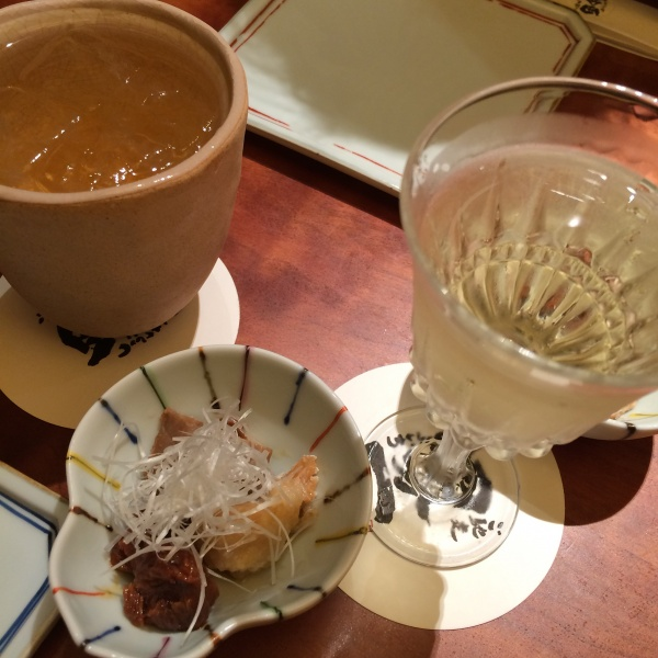 とりあえず乾杯!加賀梅酒と山廃純米ひやおろし 天狗舞。