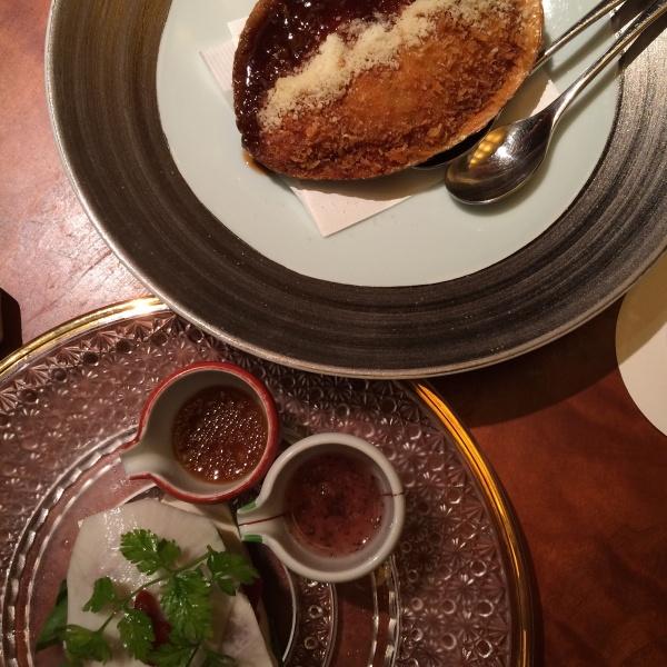 蟹クリームコロッケとアボガド鮪蕪のシンフォニー