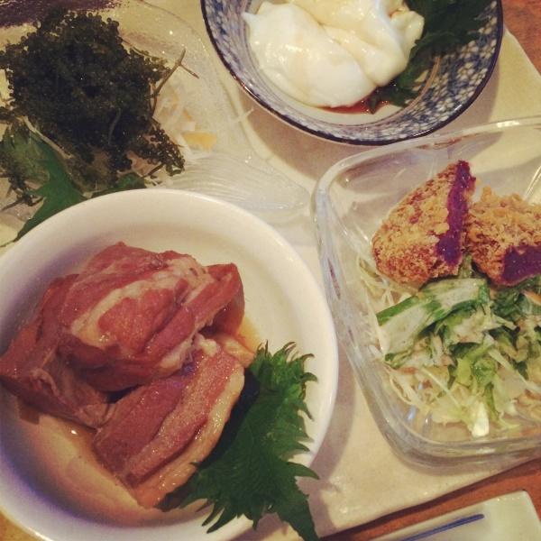 海ぶどうとラフティと紅芋コロッケとジーマミー豆腐